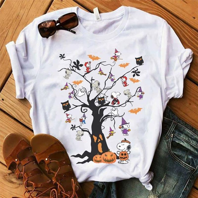 Snoopy And Friends Shirt Snoopy Tree Happy Halloween Gift White T Shirt Men And Women S-6XL Cotton