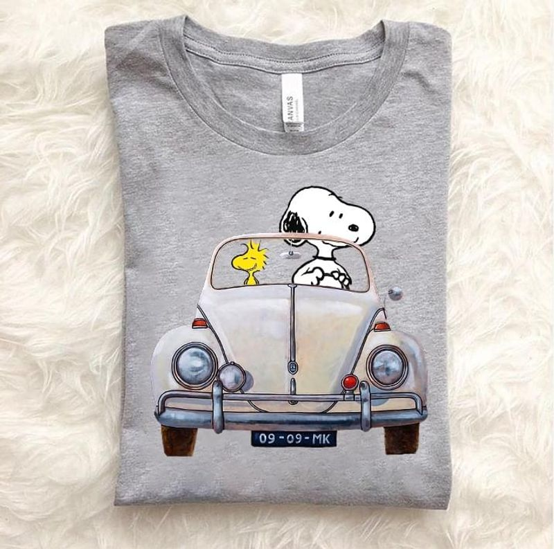 Snoopy And Woodstock Driving Car T-shirt Best Gift For Peanuts Fans Sport Grey T Shirt Men And Women S-6XL Cotton