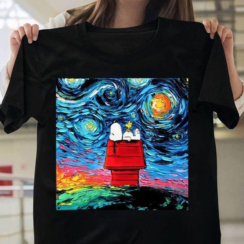 Snoopy And Woodstock Starry Night Van Gogh Artwork T-Shirt Funny Snoopy Peanuts Black T Shirt Men And Women S-6XL Cotton