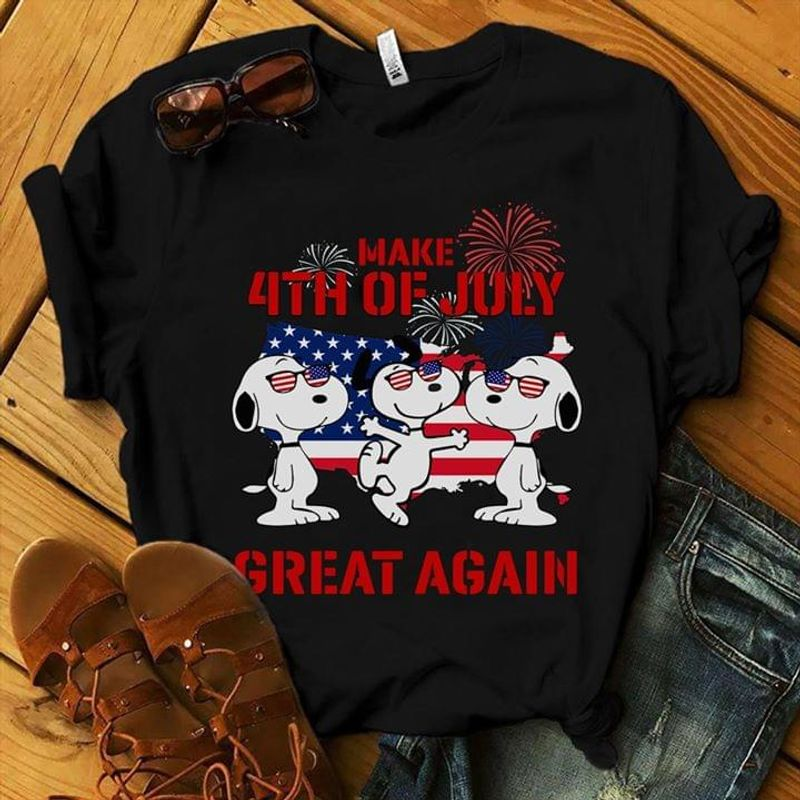 Snoopy Make 4th Of July Great Again Black T Shirt Men/ Woman S-6XL Cotton
