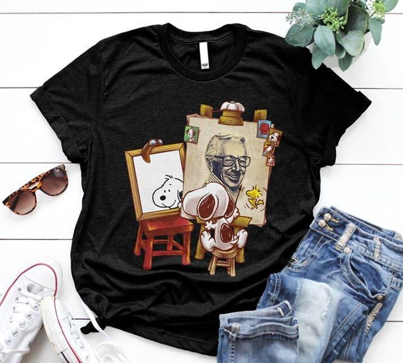 Snoopy Painting In The Mirror Funny Black T Shirt Men/ Woman S-6XL Cotton