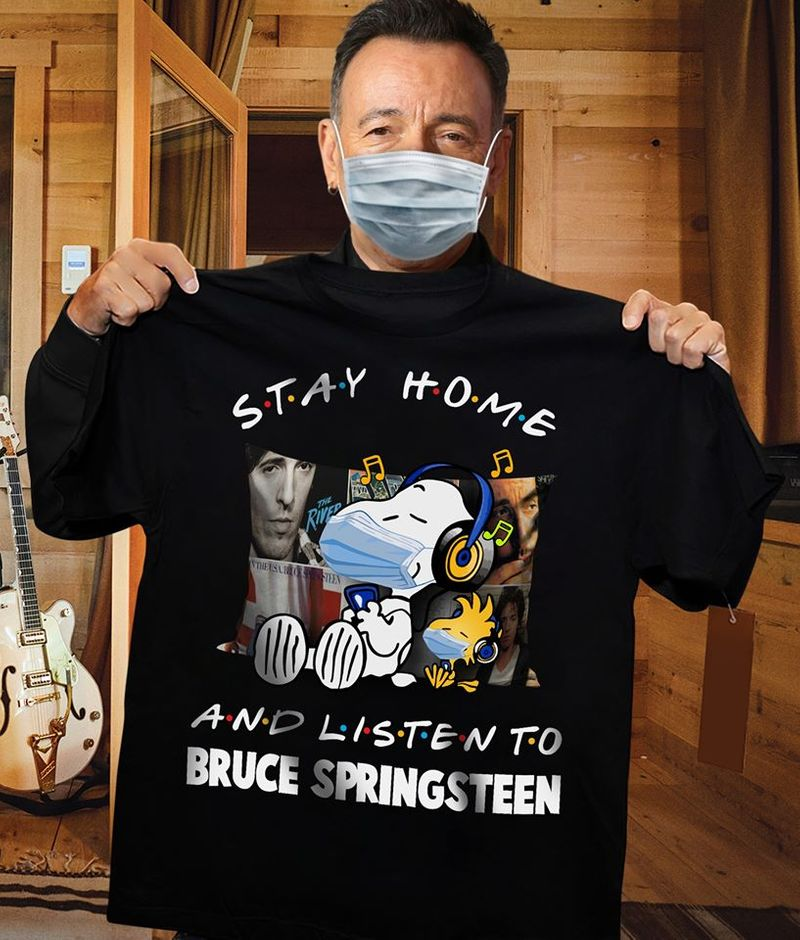 Snoopy Stay Home And Listen To Bruce Springsteen T-shirt Black A5