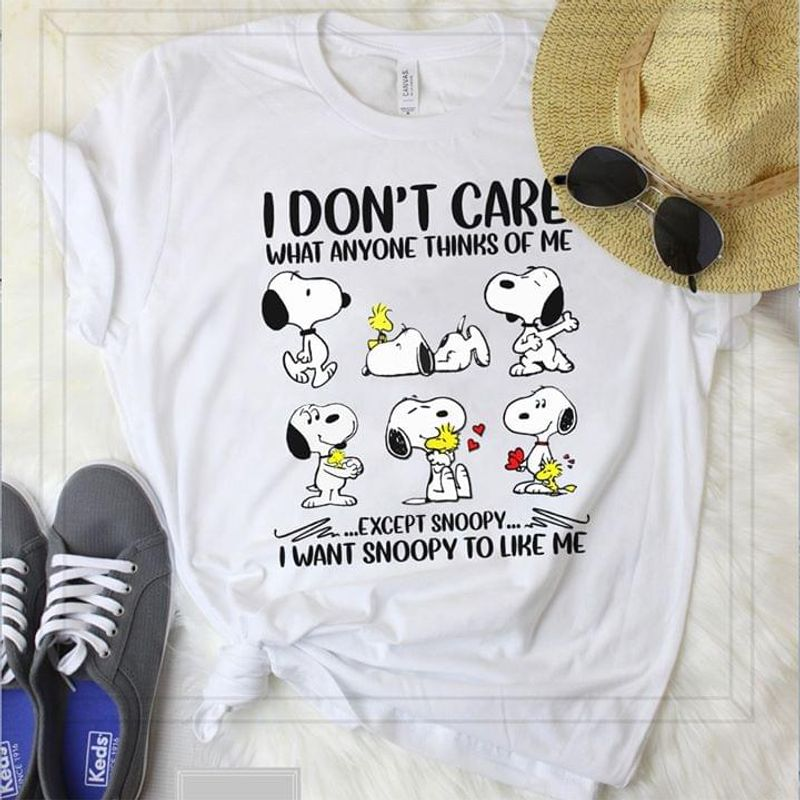 Snoopy & Woodstock I Don't Care What Anyone Thinks Of Me Funny Sarcasm Quote White T Shirt Men And Women S-6XL Cotton