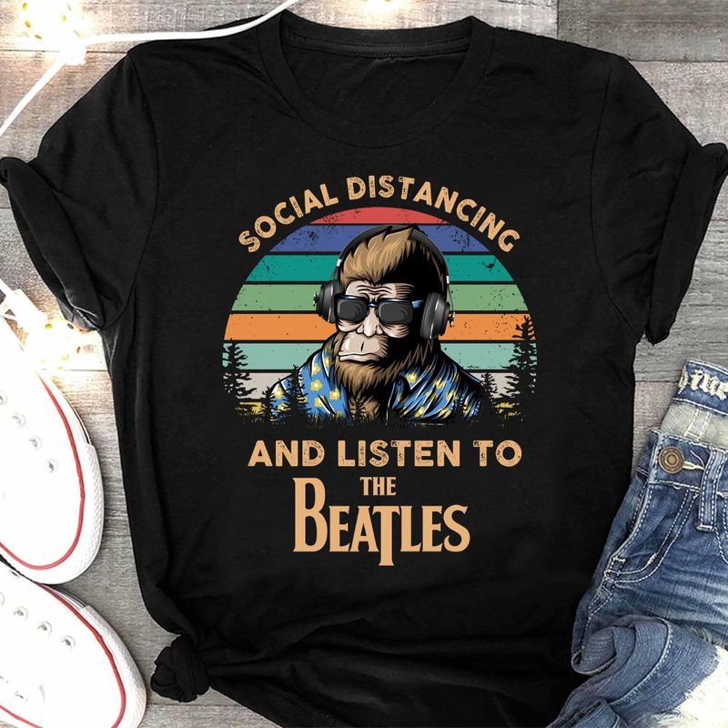 Social Distancing And Listen To The Beatles Black T-shirt