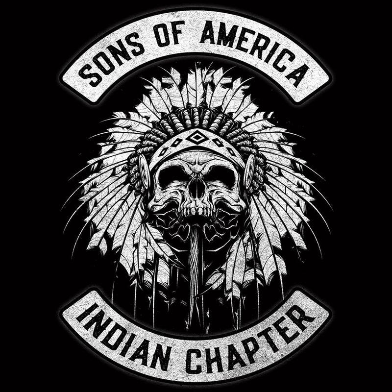 Sons Of America Indian Chapter Lion Skull  T-Shirt Black B5