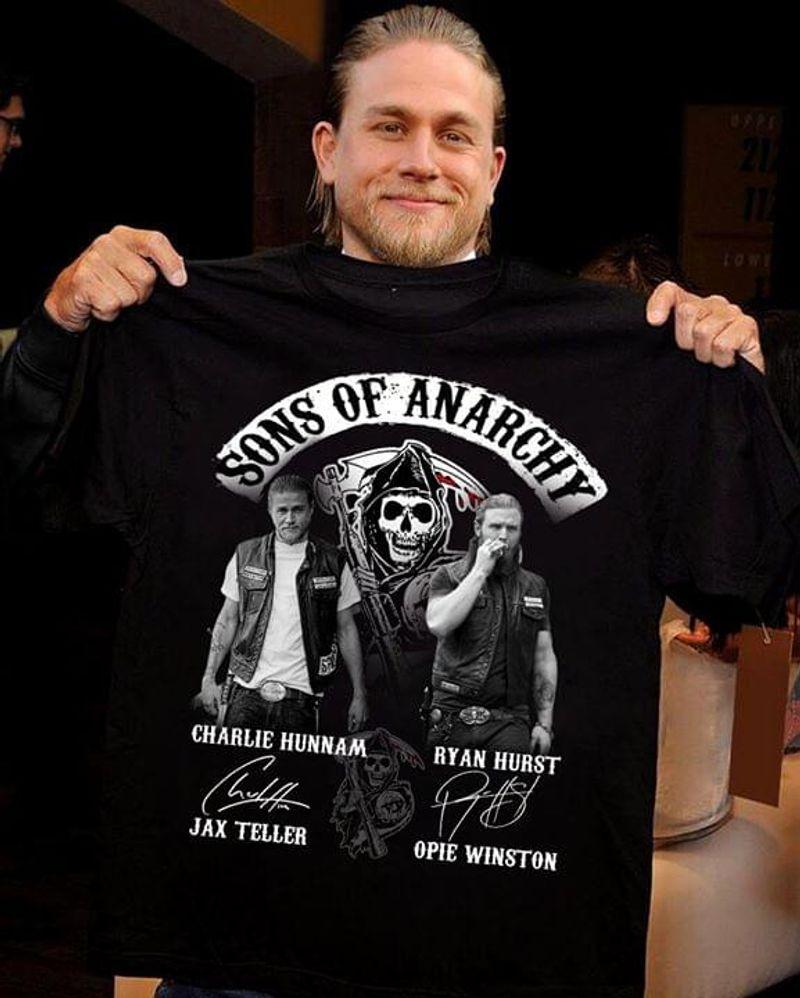 Sons Of Anarchy Charlie Hunnam Ryan Hurst Signature Jax Teller Opie Black T Shirt Men And Women S-6XL Cotton