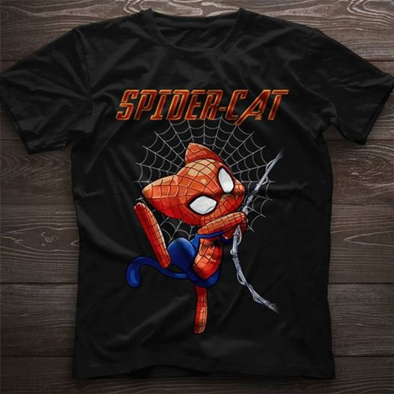 Spider Cat T Shirt Black A5