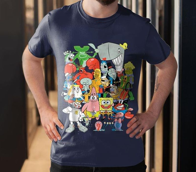 Spongebob Cartoon Movie This Cute Design Is For Who Is A Big Fan Navy T Shirt Men And Women S-6XL Cotton
