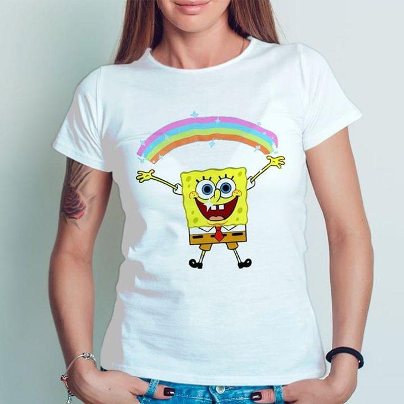 Spongebob Squarepants Rainbow Cute Design For Someone Loves This Cartoon White T Shirt Men And Women S-6XL Cotton