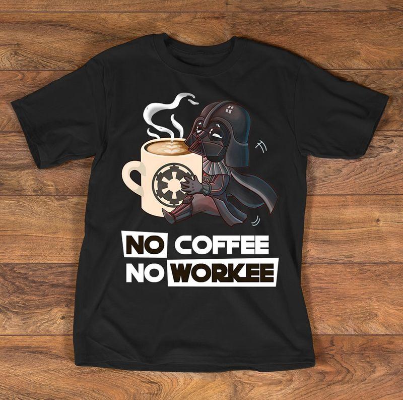 Star No Coffee No Workee  T Shirt Black A5