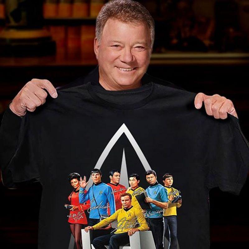 Star Trek Crew Signatures T Shirt Black