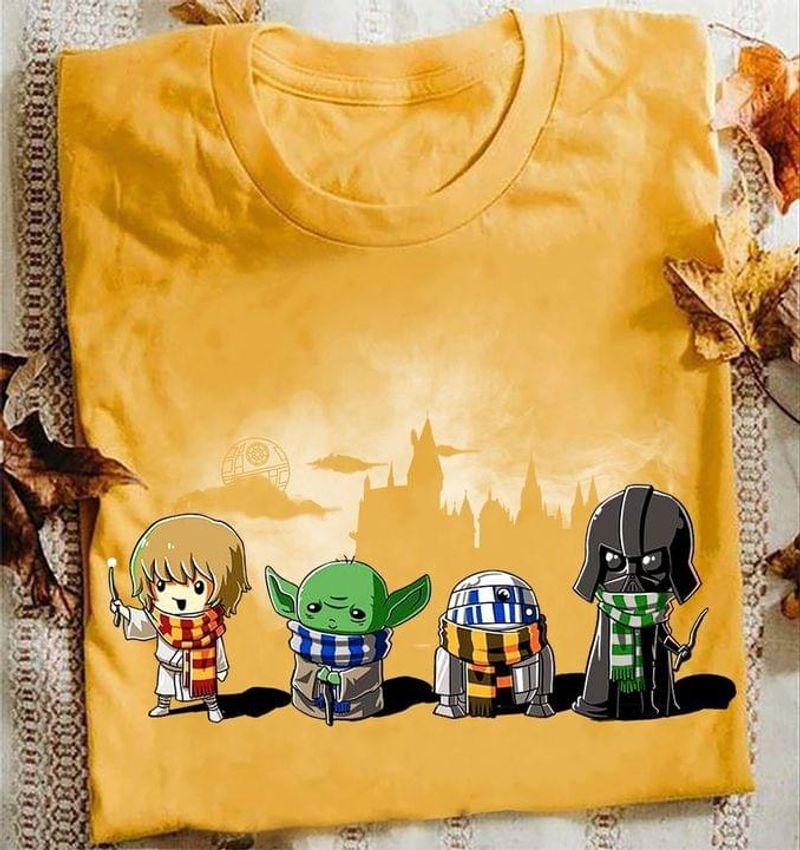 Star Wars Fans Tee Cute Harry Potter Parody Cosplay Cute Art Shirt Baby Yoda Darth Vader Gold T Shirt Men And Women S-6XL Cotton