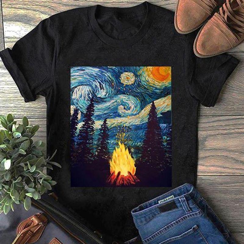 Starry Night Camp Fire T Shirt Black