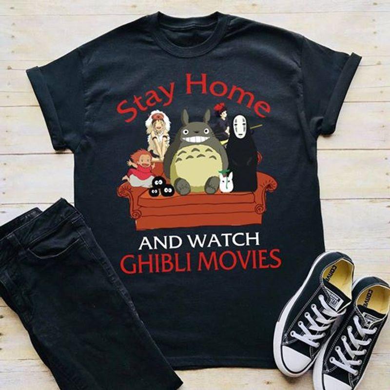 Stay Home And Watch Ghibli Movies    T-shirt Black B1