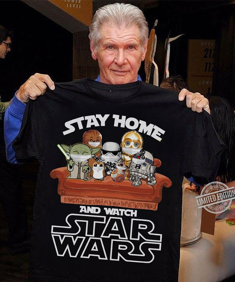 Stay Home And Watch Star Wars Chibi Edition T Shirt Black