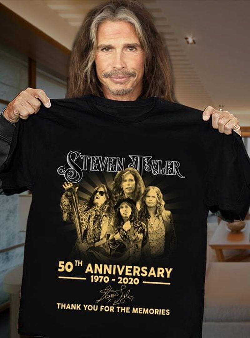 Steven Tyler Fans 50th Anniversary Thank You For The Memories Signature Black T Shirt Men And Women S-6XL Cotton