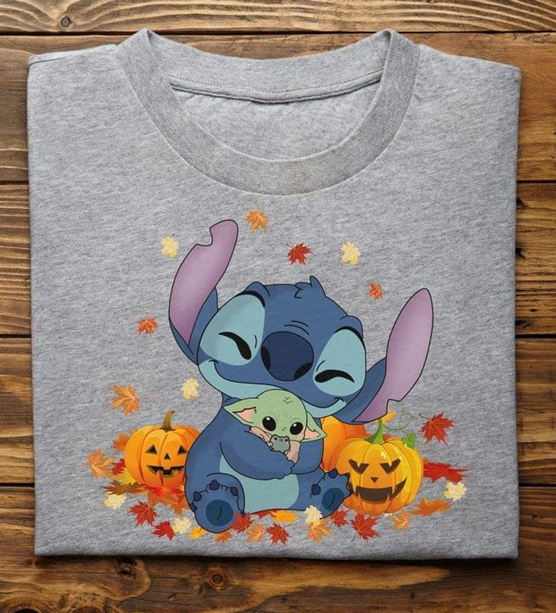 Stitch And Baby Yoda Pumpkin Maple Autumn Leaves Tee Fall Lovers Halloween Gift Sport Grey T Shirt Men And Women S-6XL Cotton