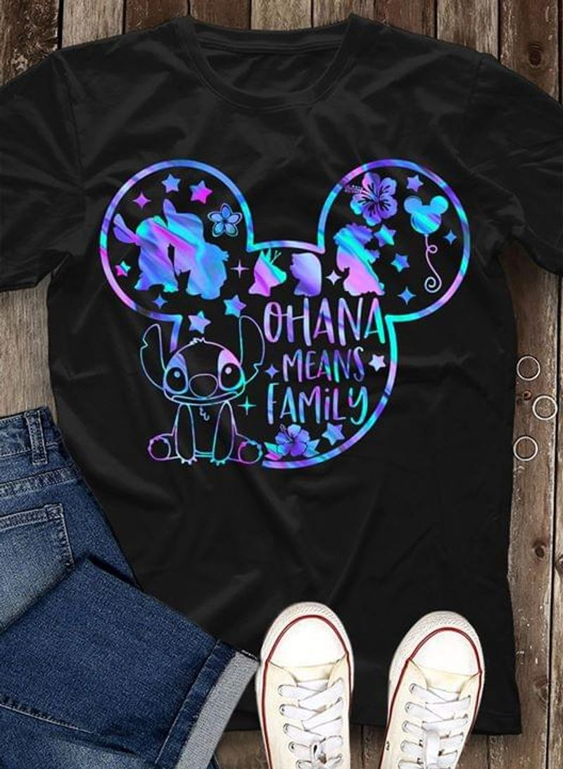 Stitch And Lilo Ohana Means Family Mickey Mouse Head Flowers Black T Shirt Men And Women S-6XL Cotton