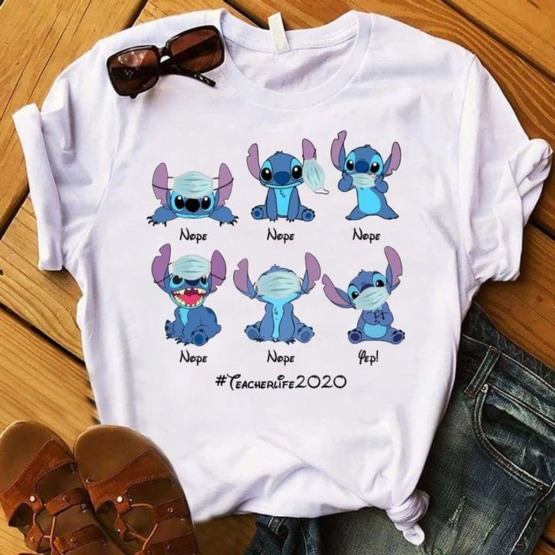 Stitch And Lilo Tee Quarantine The Right Way Ware Face Cover Tee Teacherlife2020 Teacher Life 2020 White T Shirt Men And Women S-6XL Cotton