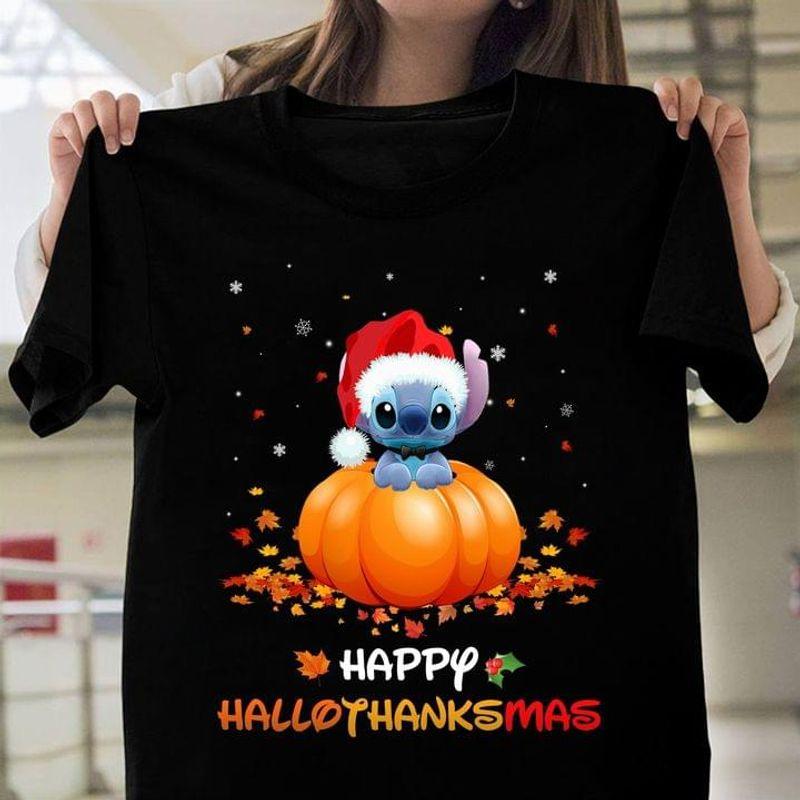 Stitch & Friends Happy Halloween Shirt Happy Hallothanksmas Black T Shirt Men And Women S-6XL Cotton