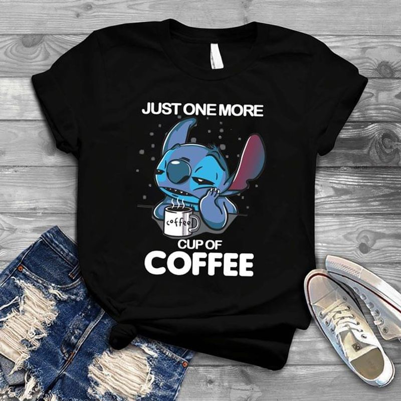 Stitch Just One More Cup Of Coffee Black T Shirt Men/ Woman S-6XL Cotton
