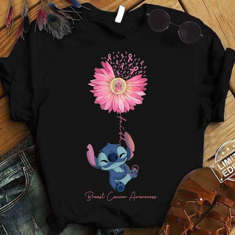 Stitch Pink Dais Faith Cute Breast Cancer Awareness October Month Gift Black T Shirt Men And Women S-6XL Cotton