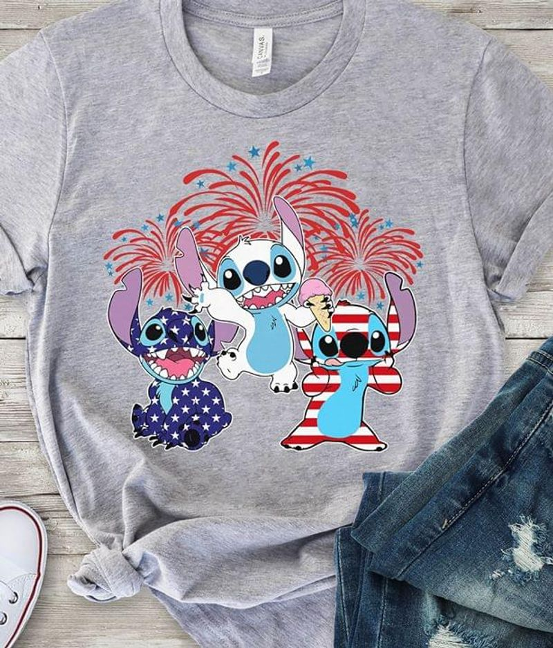 Stitch US Flag 4 Of July Independence Day Lovers Grey  T Shirt Men/ Woman S-6XL Cotton