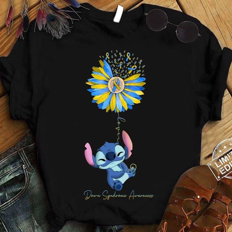 Stltch Blue Yellow Ribbon Flower Balloon Down Syndrome Awareness Month Black T Shirt Men And Women S-6XL Cotton
