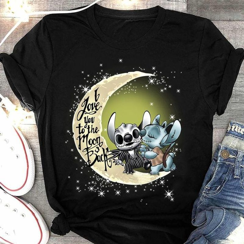 Stltch Mashup Jack Skellingt0n Sally I Love You To The Moon And Back Halloween Gift Black T Shirt Men And Women S-6XL Cotton