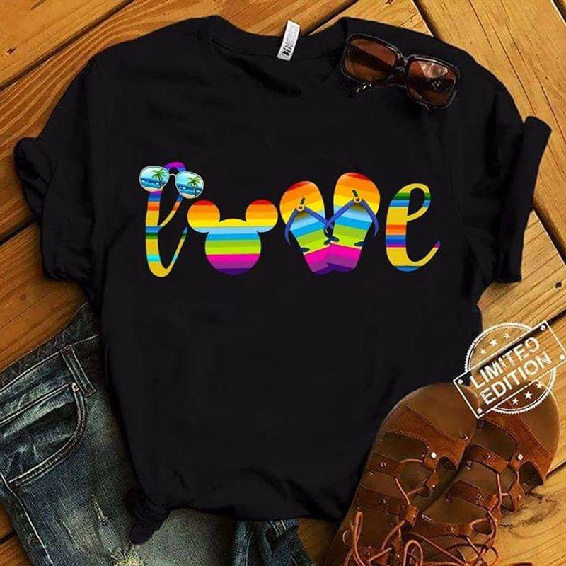 Summer Beach Lgbt Love Mickey Mouse Flip Flops Cool Item For Hippie Girl Black T Shirt Men/ Woman S-6XL Cotton