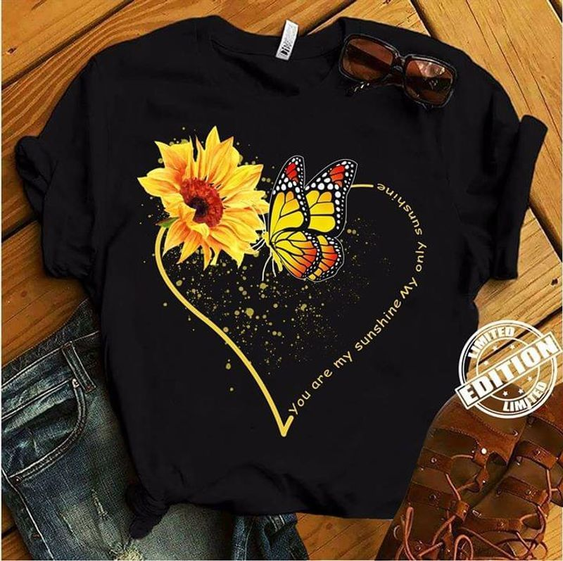 Sunflower And Butterflies You Are My Sunshine T-shirt Black