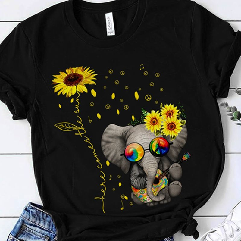 Sunflower Baby Elephant Playing Guitar Here Comes The Sun T Shirt Black A3