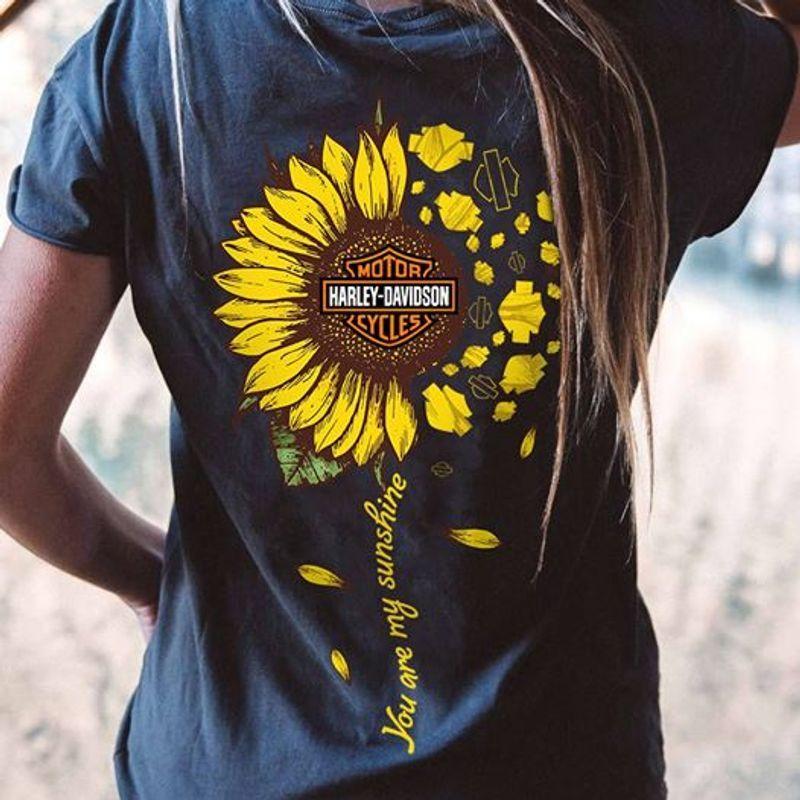 Sunflower Harley Davidson Motorcycles You Are My Sunshine T-shirt Black