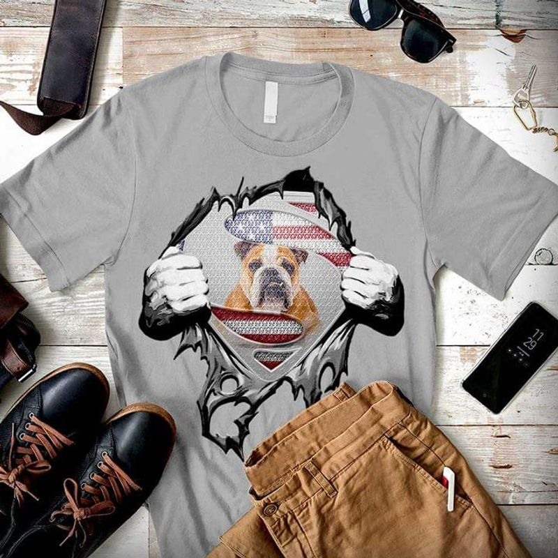 Super Bulldog Independence Day 4th Of July Grey T Shirt Men/ Woman S-6XL Cotton