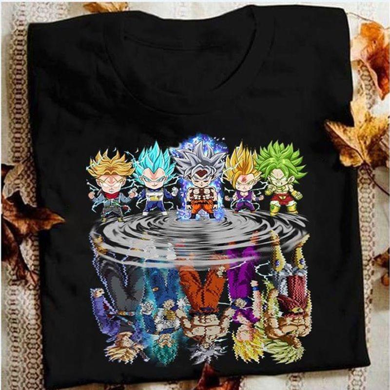 Super Saiyan Chibi Reflection Water Mirror Goku Black T Shirt Men/ Woman S-6XL Cotton