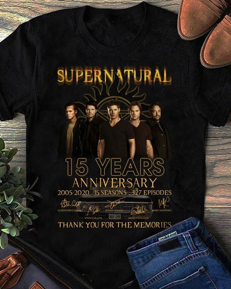 Supernatural Fans 15 Years Anniversary Thank You For The Memories Signature Black T Shirt Men/ Woman S-6XL Cotton