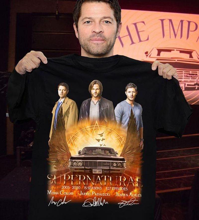 Supernatural Fans Logo And Signature Black T Shirt Men/ Woman S-6XL Cotton