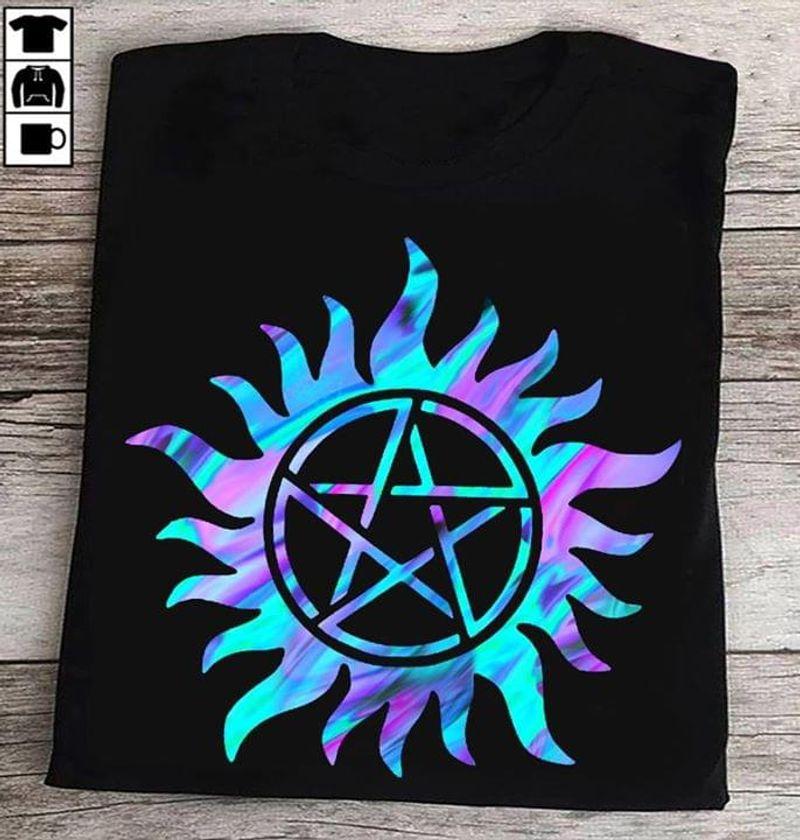 Supernatural Pentagram Star Anti Possessions Symbol Pentagram Tattoo Black T Shirt Men And Women S-6XL Cotton