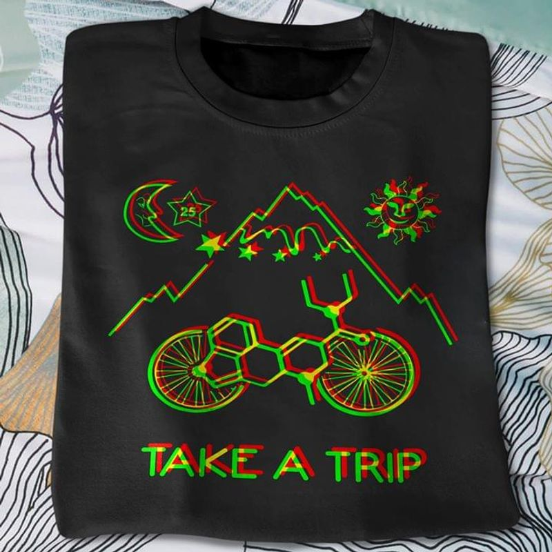 Take A Trip From Day And Night To Mountain By Bike The Moon And Sun BlackT Shirt Men/ Woman S-6XL Cotton