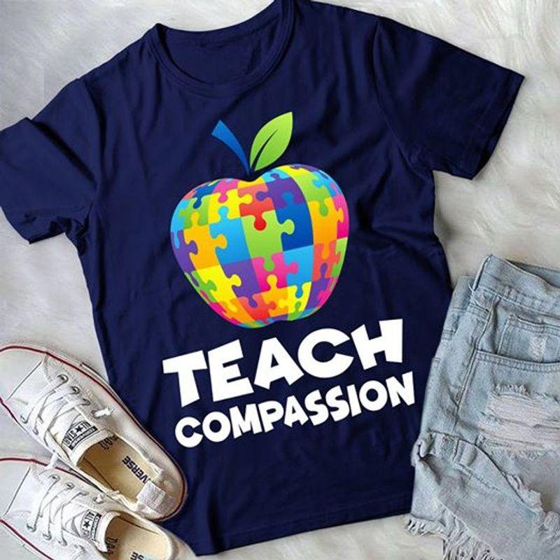 Teach Compassion Apple Lego T Shirt Navy A8