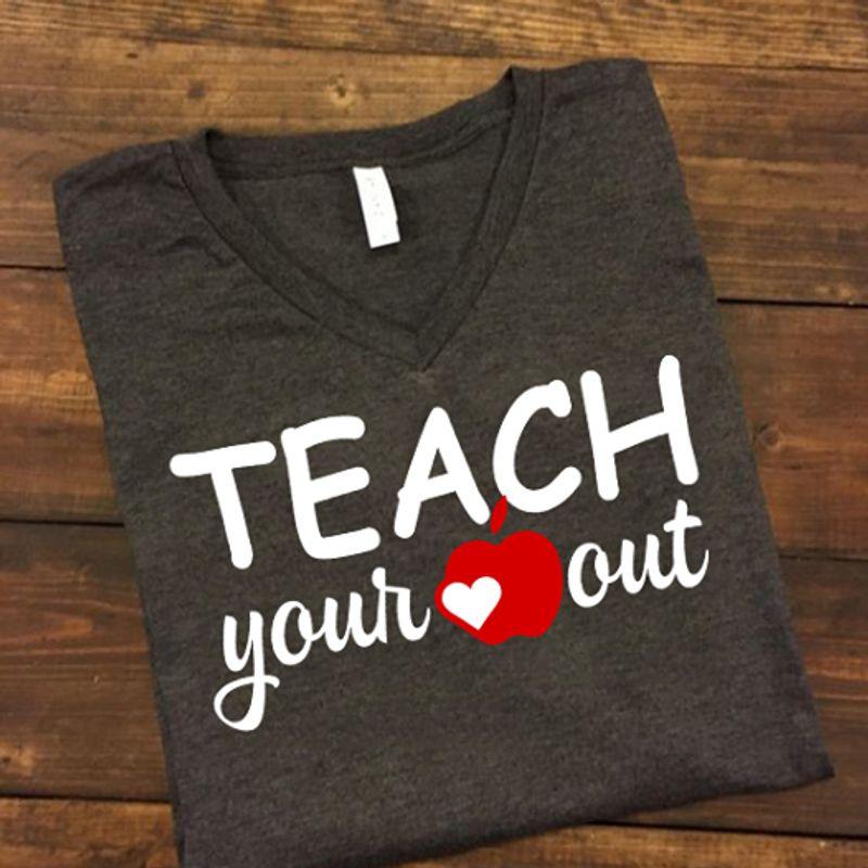 Teach Your Out Apple Heart Tshirt Gray A2