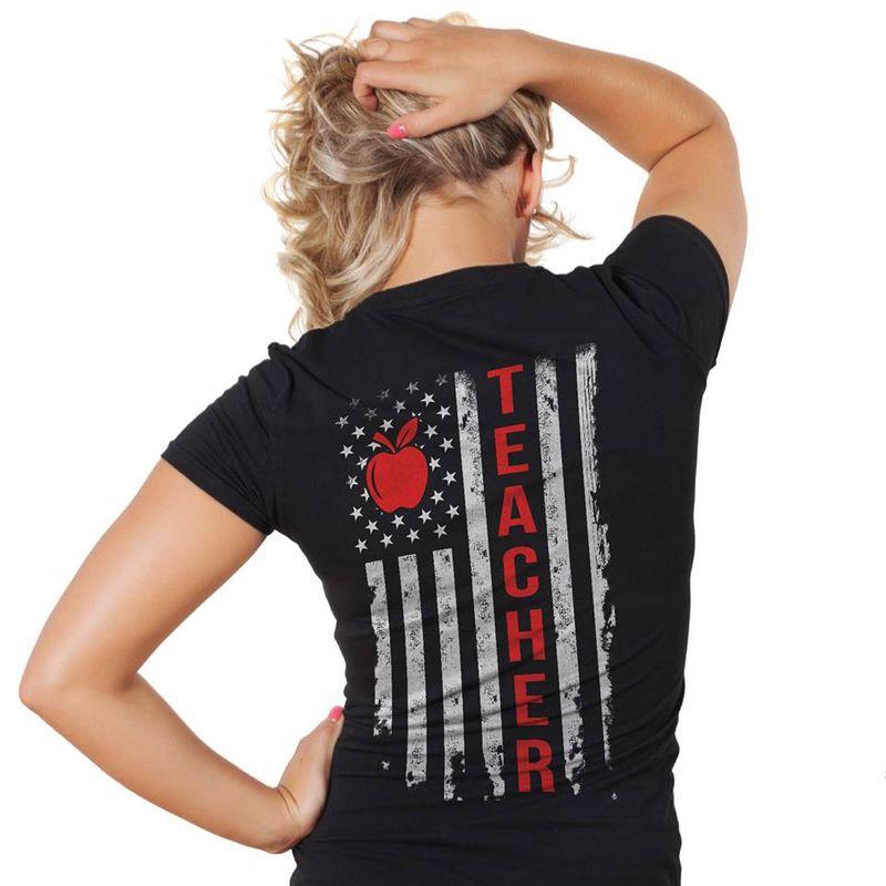 Teacher Apple Flag T-shirt Black A8