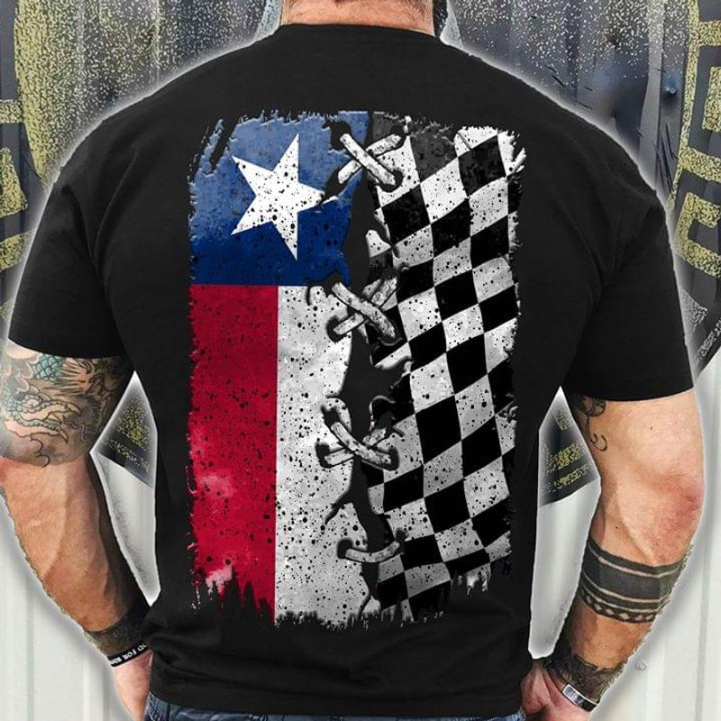 Texas Dirt Track Racing State Flag Of Texas Ideal Gift BlackT Shirt Men/ Woman S-6XL Cotton