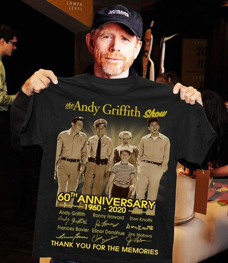 The Andy Griffith Show 60th Anniversary 1960 To 2020 Signatures Of Main Characters Thank You For The Memories Black T Shirt S-6xl Mens And Women Clothing