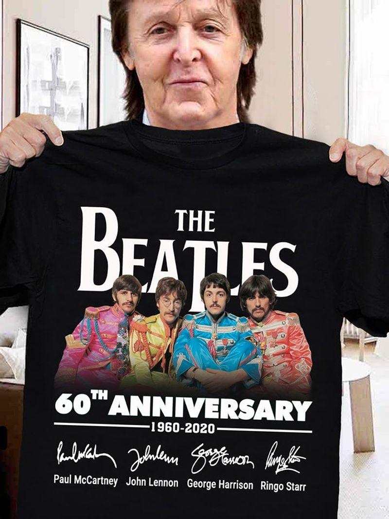 The Beatles 60th Anniversary 1960 2020 Signatures T Shirt Black