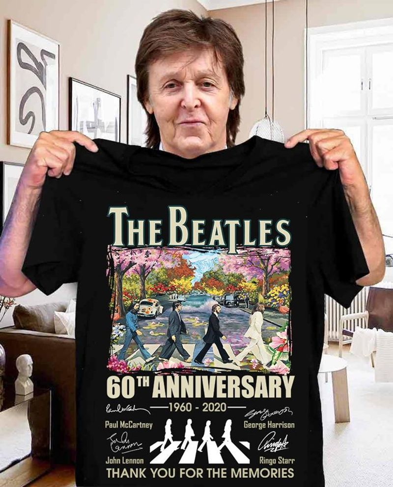 The Beatles 60th Anniversary 1960 2020 Signatures Thank You For The Memories T Shirt Black