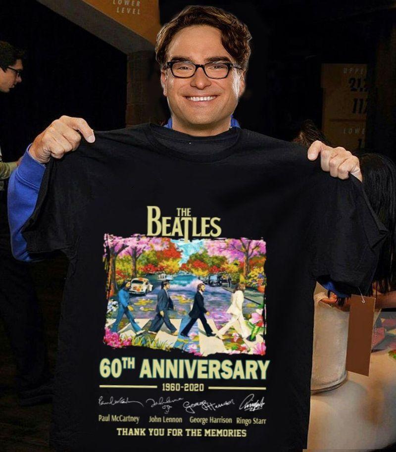 The Beatles 60th Anniversary Signature T Shirt Black A5