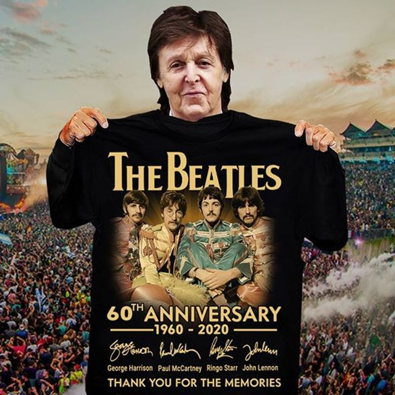 The Beatles Sginatures 60th Anniversary 1960 2020 Thank You For The Memories T Shirt Black