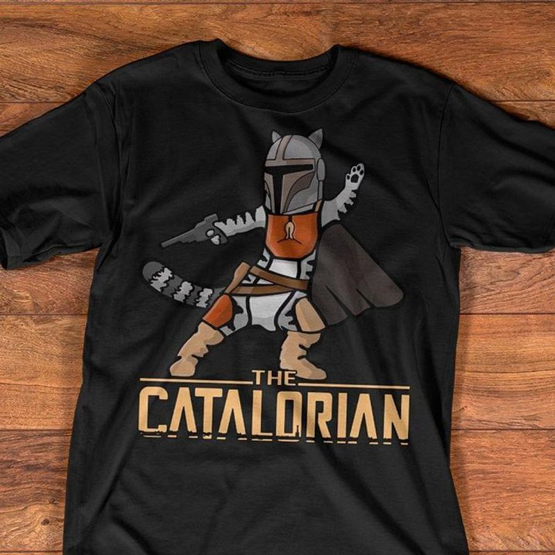 The Catalorian Lovers Cats And Star Wars Mandelorian Series Black T Shirt Men And Women S-6XL Cotton