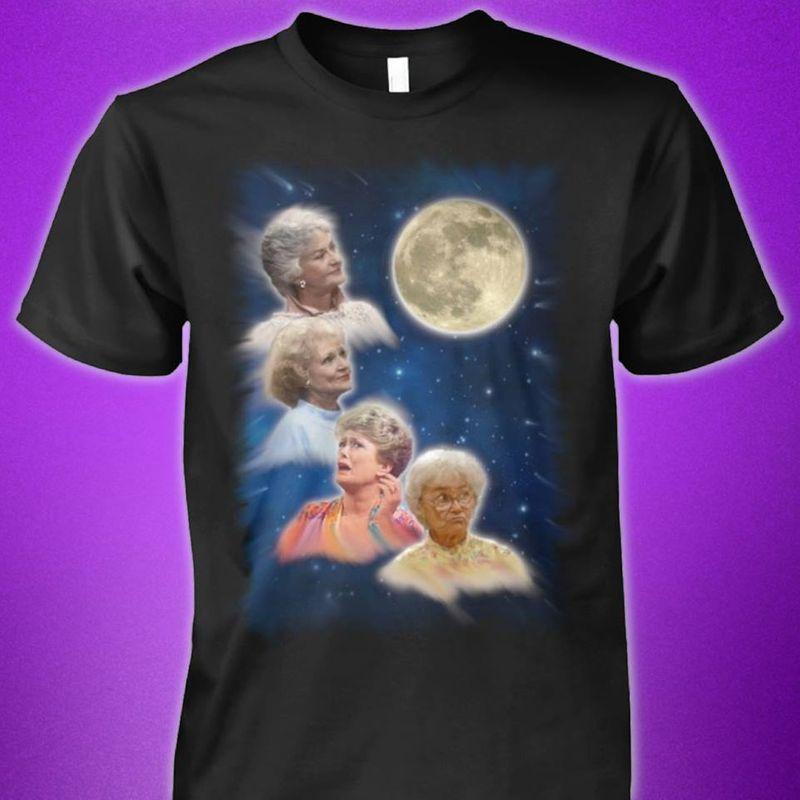 The Golden Girl Under The Moon T-shirt Black A2